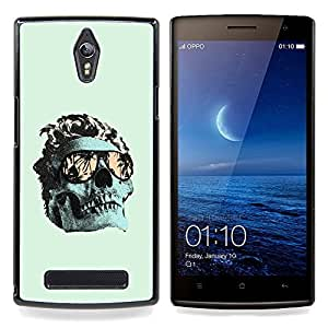 Ihec Tech Verde fresco Miami cráneo Death Metal / Funda Case back Cover guard / for OPPO Find 7 X9077 X9007