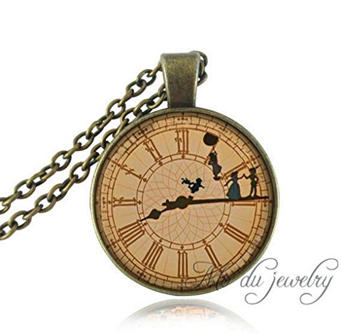 SOOZ_SOOZ : Peter pan necklace vintage clock necklaces Off To Neverland pendant necklace womenTinkerbell necklacesnever neverLand jewelry