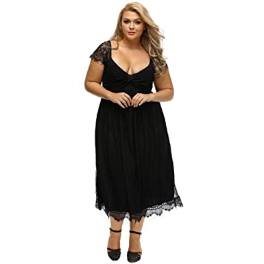 Elegant Low-cut Lace Cap Sleeve Women A-line Dress Plus Size ...