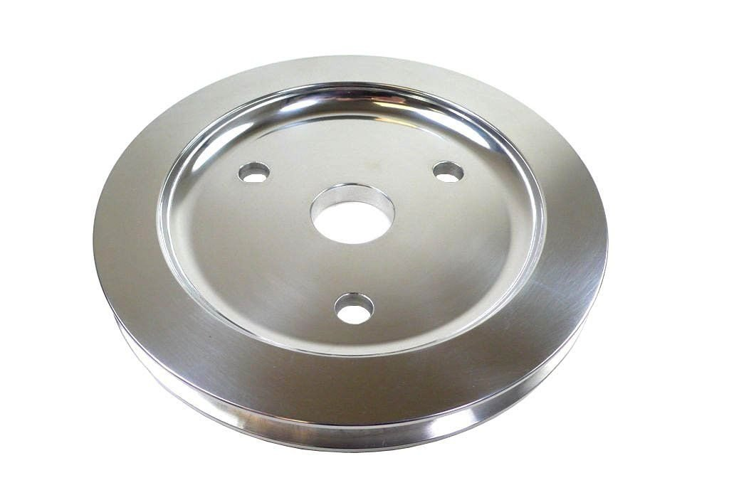 SBC Polished Aluminum Short Water Pump Single Groove Crank Pulley DEMOTOR