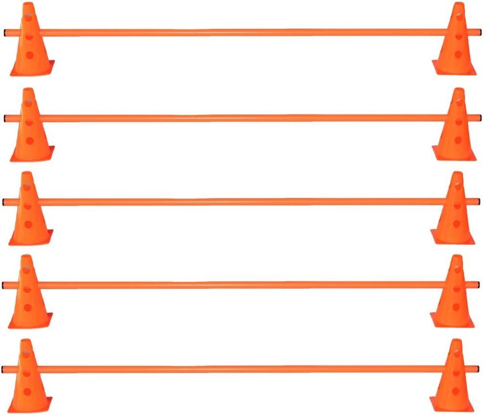Boje Sport調整トレーニングのための5つのハードルのセット - 10x MZK:23 cm、オレンジ/ 5x棒:160 cm、オレンジ
