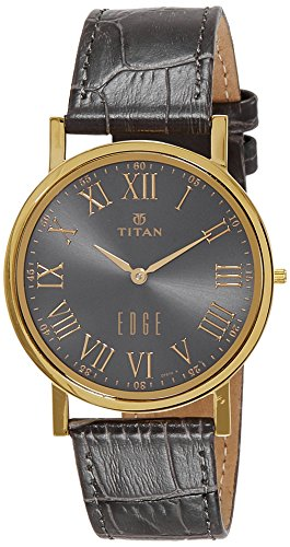 Titan Men's 'Edge' Quartz Stainless Steel and Leather Casual Watch, Color:Grey (Model: 1595YL02)