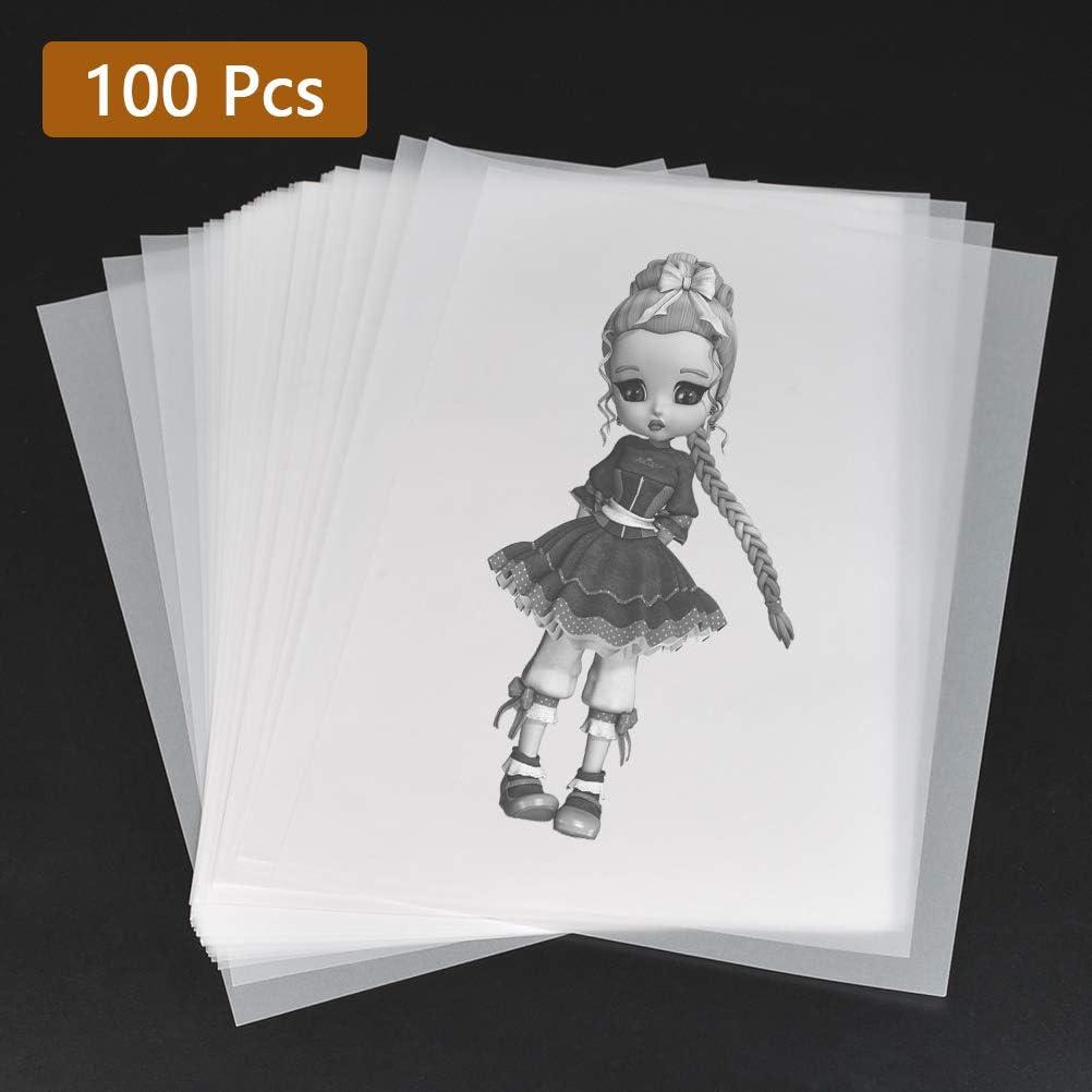 POKIENE 100 Piezas de Papel de Calco, Papel de Calco Imprimible, Hoja de Calco de Dibujo, Papel Transparente para Impresión, Gráfico, Calco, Arquitectura, Diseño, Dibujo, Manualidades, Decoración - A4: Amazon.es: Hogar