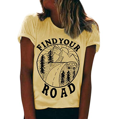 'Find Your Road' Letter Pattern Women's Fashion Short Sleeve O-Neck Tops Cuffed Sleeve Solid Loose Blouse Tee T-Shirt Yellow ()