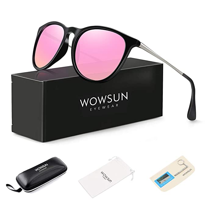 WOWSUN Polarized Sunglasses Women Vintage Retro Round Mirrored Lens Black Purple Pink best women's polarized sunglasses