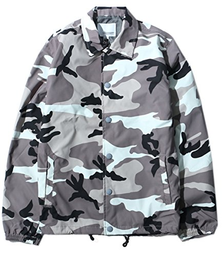 Twill Military Outwear Camo Hipster Hip Hop Cargo Jacket (Gray, Large) (Twill Cargo Jacket)