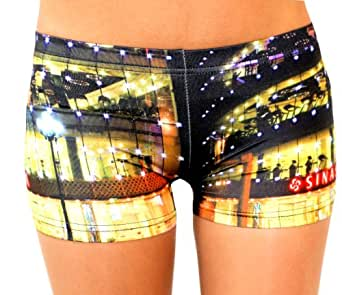 FunLeggings Night at the Cafe Spandex Shorts - Size Small