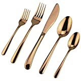 Flatware Set, DEALIGHT Silverware Set, 5-Piece Heavy-Duty Cutlery, Rose Gold 18/10 Stainless Steel Eating Utensils, for 1 People