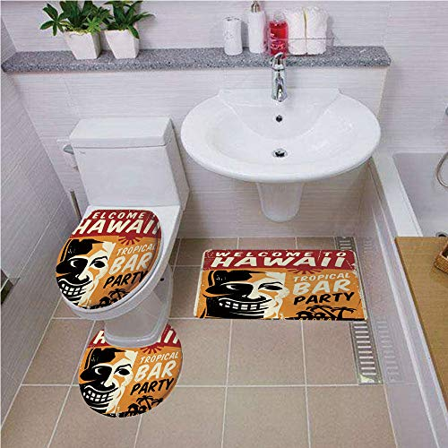 Bath mat Set Round-Shaped Toilet Mat Area Rug Toilet Lid Covers 3PCS,Tiki Bar Decor,Welcome to Hawaii Tropical Bar Party Retro Style Grunge Signboard - New England Sign Neon Patriots