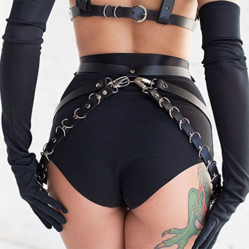 L'vow Women' Sexy Faux Leather Body Harness Garter Belt Metal Chain Waist Leg Cage (Black Two) by L'vow (Image #2)
