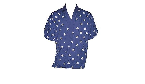 Amazon.com: Blue Chinese Print Sushi Chef Uniform in Large ...