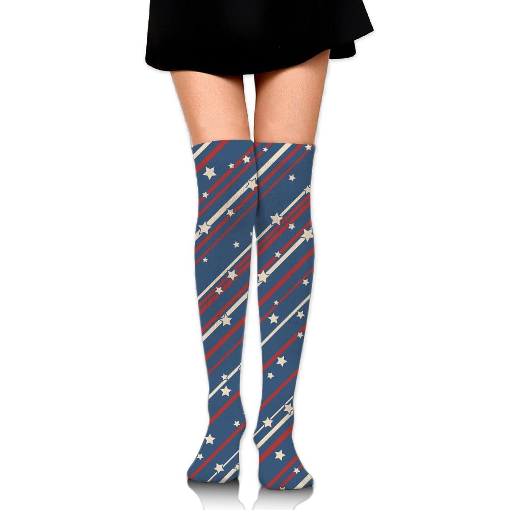 07140ba2181 Women s Long Socks USA Patriotic Stars And Stripes Long Over Knee High  Nursing Sock at Amazon Women s Clothing store