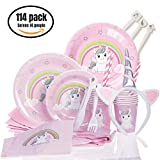 Unicorn Party Supplies | Pink Unicorn Birthday Party Decorations and Tableware For Girls | 114 Pieces Set includes Disaposable Tablecloth, Paper Dinner and Dessert Plates, Cups, Cultery Sets, Straws, Napkins and a Unicorn Headband | Serves 14 People