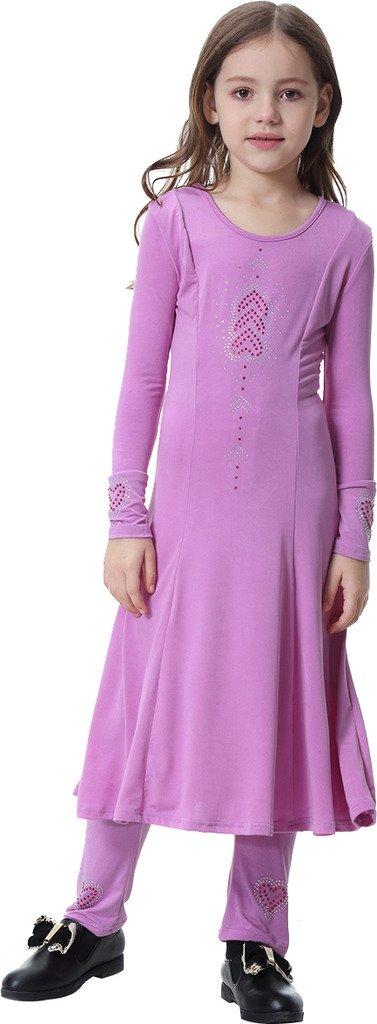Ababalaya Muslim Islamic Girl's 2pcs Soft O-Neck Love Rhinestones Long Dress&Long Pants Sets,Light Purple,XL Suitable for Height 4'7''