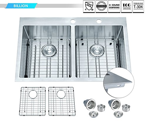 BILLION Crystal CR-UU32TH Drop-in Overmount 33'x 22' Heavy Gauge Handmade 50/50 Double Bowl Stainless Steel Kitchen Sink, Round Corners Topmount Sink w/ 9 Gauge Deck + 16 Gauge Body