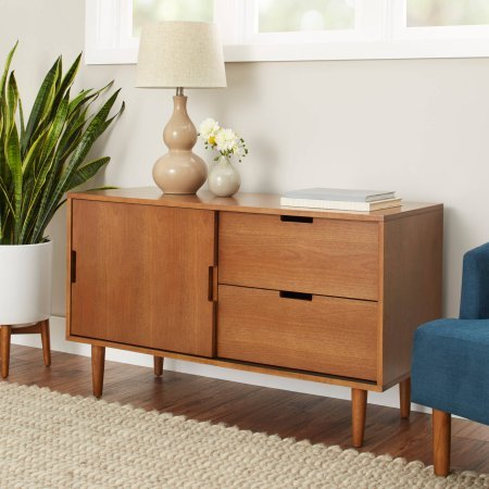 (Better Homes and Gardens Flynn Mid Century Modern Credenza in Pecan)