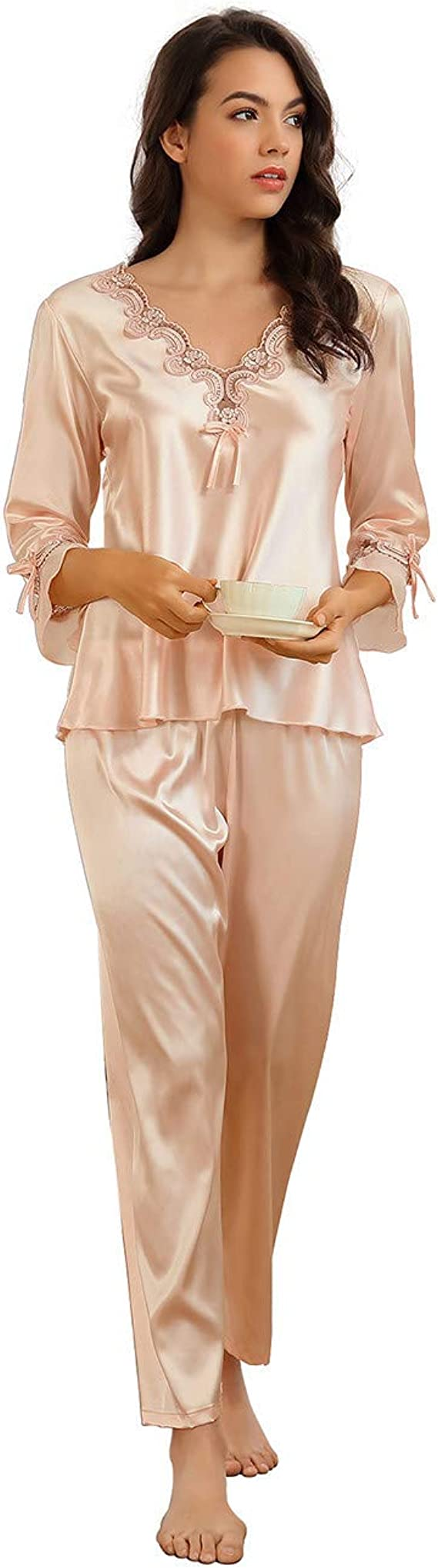 UK 1930s Dresses, Shoes, Clothing in the UK Ladies Pyjamas Set Silky Satin Pyjamas for Women Sleepwear Loungewear £17.99 AT vintagedancer.com