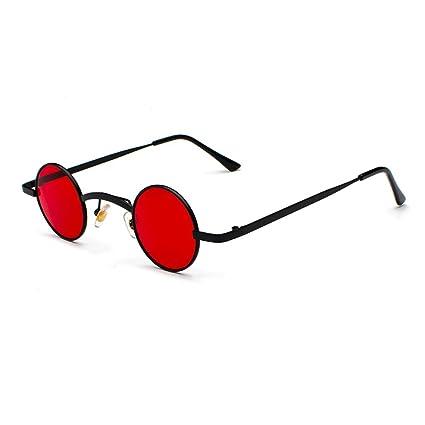 HUACANG Gafas de Sol Redondas de Lennon, Gafas de Sol Retro Vintage Steampunk para Hombres