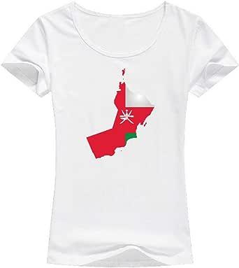 تيشيرت علم عمان أبيض - للنساء