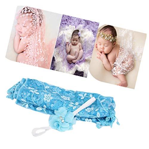 Newborn Baby Photography Props Blanket Backdrop Lace Wrap Yarn Headband for Boy Girls Baby Photo Shoot(Blue)