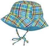 i play. Baby-boys Infant Bucket Sun Protection Hat, Aqua Plaid, 6-18 Months image