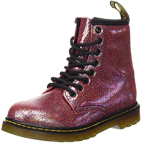 Dr. Martens Kid's Delaney IE Lace Fashion Boots, Pink Leather, 1 Little Kid M UK, 2 (Doc Martens Kids Boots)