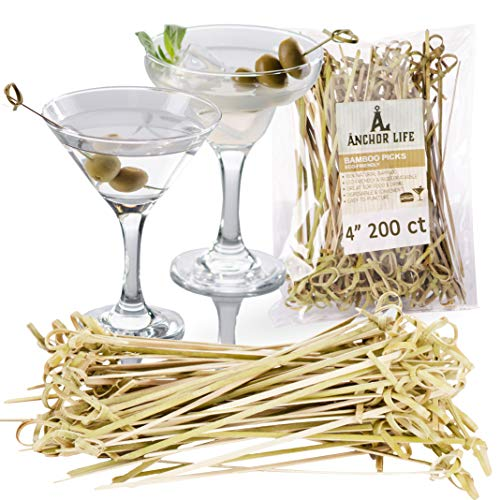 Bamboo Appetizer Cocktail Picks | Environmentally Friendly Disposable Skewers Picks for Food and Drinks | Two Sizes Available (4