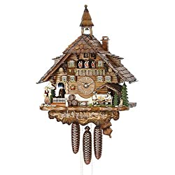 Cuckoo Clock Black Forest house with moving beer drinkers and mill wheel