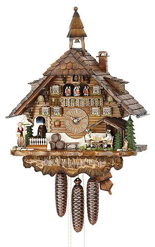 Beer Drinker Cuckoo Clock - Cuckoo Clock Black Forest house with moving beer drinkers and mill wheel
