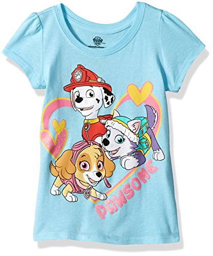 Paw Patrol Girls' Toddler Short Sleeve Tee Shirt, Light Blue, 4T]()