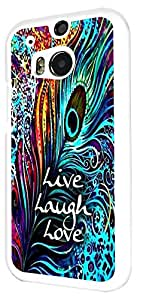 713 - Shabby Chic Peacock Feathers Live Love Laugh Design For htc One M8 Fashion Trend CASE Back COVER Plastic & Slim Metal - White