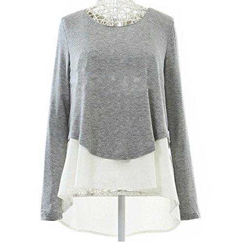 Damen Elegant Rundhals Stitch Chiffon-Shirt Pullover mit Langen Ärmeln Blusen Tops Oberteile (L, Grau)
