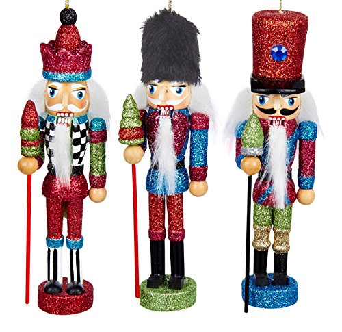 Hollywood Soldier Red Green Blue Christmas Holiday Nutcracker Ornaments Set of 3