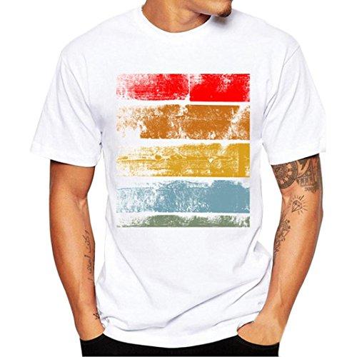 Price comparison product image Gotd Men Printing Tees Shirt Women Short Sleeve Cotton T Shirt Blouse (XXXL,  White)