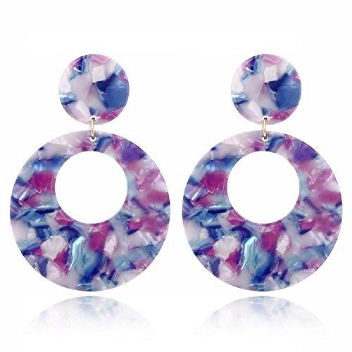 - Jiami Resin Hoop Earrings Dangle Drop Earring Fashion Women Girls Earring, Purple