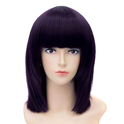 Baisheng Sailor Moon Saturn mujeres color púrpura corto Bob Yaki sintética peluca de pelo completo cortocircuito
