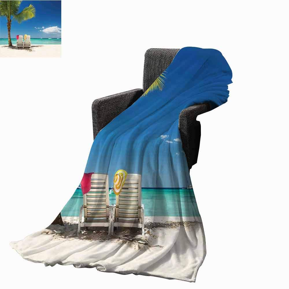 Seaside Decor Beach Blanket,Relaxing Scene on Remote Beach with Palm Tree Cozy and Durable Fabric-Machine Washable (62''x60'')-Chairs and Boats Panoramic Picture