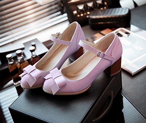 CHFSO Womens Elegant Round Toe Chunky Heel Buckle Ankle Strap Bowknot Pumps Shoes Purple 6AgJd
