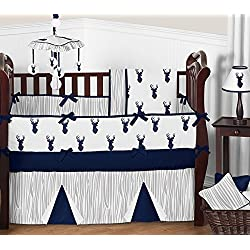 Sweet Jojo Designs Navy Blue White and Gray Woodland Deer Print 9 Piece Crib Baby Boy Bedding Set with Bumper for a Newborn Boy