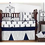 Sweet-Jojo-Designs-Navy-and-White-Woodland-Deer-Long-Front-Rail-Guard-Baby-Teething-Cover-Crib-Protector-Wrap