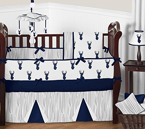 Sweet-Jojo-Designs-Navy-Blue-White-and-Gray-Woodland-Deer-Print-9-Piece-Crib-Baby-Bedding-Set-with-Bumper-for-a-Newborn-Boy
