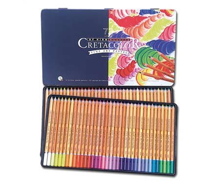 Cretacolor Fine Art Pastel Pencil Set of 72 Pencils in a Tin Case for Artists, Designers, Drafting, and Hobby,Multi,One Size