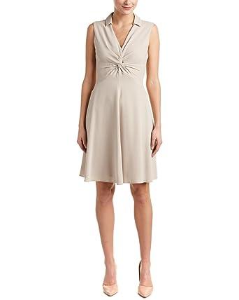 Karen Millen Womens Knotted A-Line Dress, US 2/UK 6, Beige