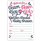 Baby : Team Boy or Team Girl Gender Reveal Baby Shower Invitations (20 Count) With Envelopes