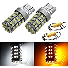 iJDMTOY 60-SMD 7441 7443 7444 Switchback LED Bulbs For Front Turn Signal + Free Load Resistor Combo Deal