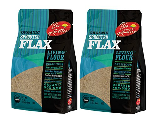 (Organic, Sprouted Flax Flour, Non-GMO, Bio-Available with a Great Taste (16 oz) - Pack of 2)