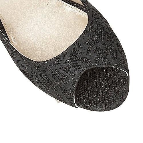 Open Aurélien Textile toe Noir Impression Lotus Escarpins I4PwzUAqx