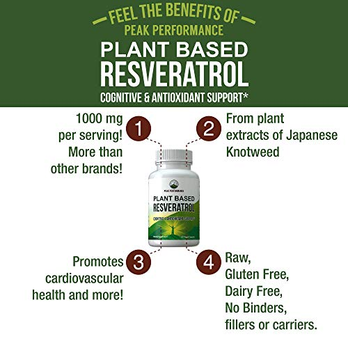 51rwDZoQdaL - Resveratrol 500mg - Best Plant Based Resveratrol Supplement by Peak Performance. Made in USA. Capsules Rich in Polyphenols from Natural Plant Extracts. 2 Pills Equals 1000mg. Reservatrol Supplement