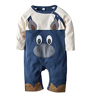 BIG ELEPHANT Baby Boys' 1 Piece Cute Long Sleeve Romper Jumpsuit Clothes