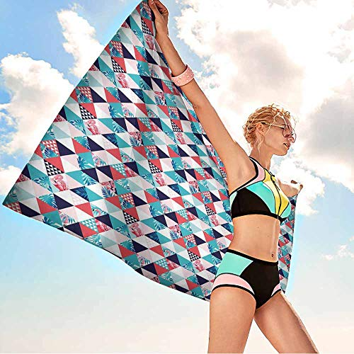Antonia Reed Bathroom Body Shower Towel Flamingo,Horizontal Triangles Geometrical Frames with Exotic Beach Elements Mosaic Design,Multicolor,Suitable for Home,Travel,Swimming Use 20